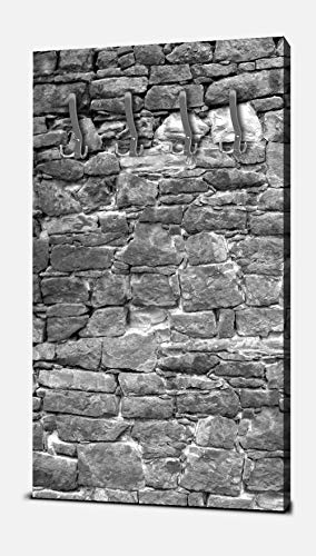 wandmotiv24 Garderobe Natursteinmaur Grau Hochformat - 55x100 (BxH) - Dekorfolie Wandgarderobe, inklusive Garderoben-Haken, Kleiderhaken, Set M0034