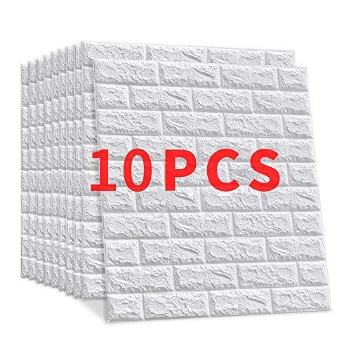 10 Pieces Papel Pintado Imitación Ladrillo Win-Y Diseño 3D Fondo de Pantalla de PVC Decoración de Ladrillo Sala de Oficina Hotel Restaurant (10 pcs)