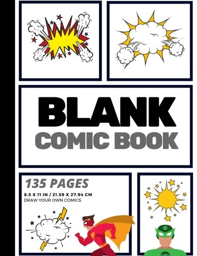 Blank Comic Book: Create Your Own Comic Strip, Blank Comic Panels, 135 Pages, Gray (Large, 8.5 x 11 in.) (Action Comics) (Volume 9)