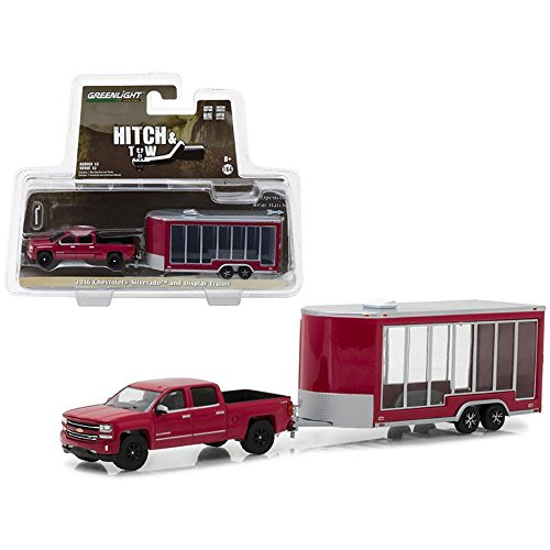 Greenlight 2016 Chevrolet Silverado Pickup Truck Red and Display Trailer Hitch & Tow Series 12 1/64 Diecast Car Model
