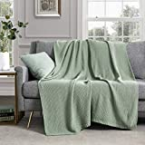 Revdomfly Sage Green Knitted Throw Blanket for Couch, 100% Cotton Cable Knit Throw Blanket Soft Cozy Decorative Sofa Chair Blankets, 50' x 60', Sage Green