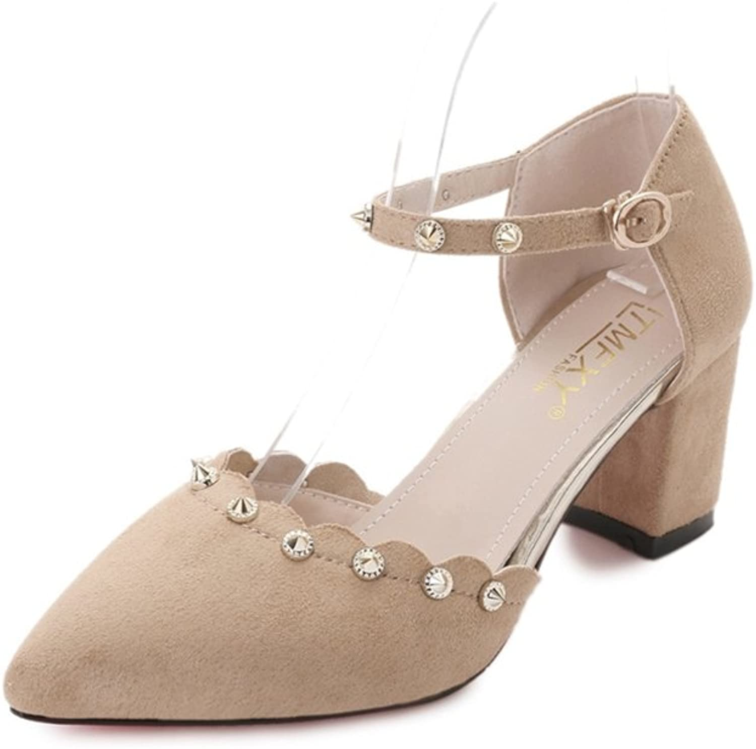 Zarbrina Chunky Block Heels Sandals for Womens Rivet Sexy Pointed Toe Ankle Starp Buckle up Slip on shoes