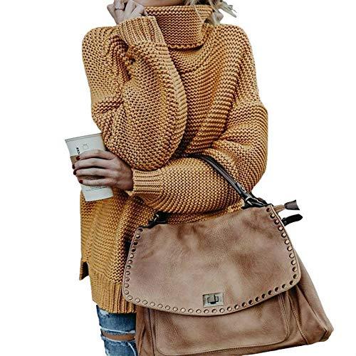 YSHJF dames retro rolkraag gebreid lange pullover herfst winter casual losse feest trui dik gebreid jumper pull
