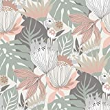 RoomMates Retro Tropical Leaves Pink & Green Peel and Stick Wallpaper | Removable Wallpaper | Self...