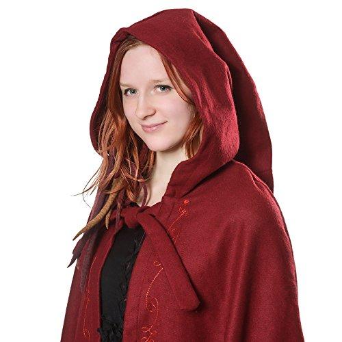 Mittelalter Umhang Damen mit Kapuze und Stickerei Wolle rot - 2