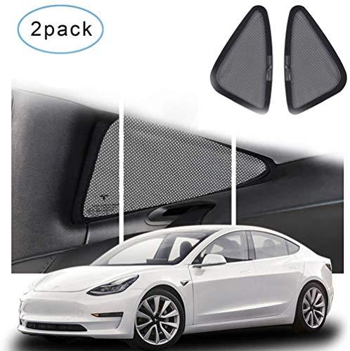 Yuaty Tesla Model 3 Auto Dreiecksfenster Sonnenschutz UV-Schutz Breathable Ineinander Greifen Korrosionsbeständigkeit Und Reißfestigkeit, Schwarz (2-Pack)