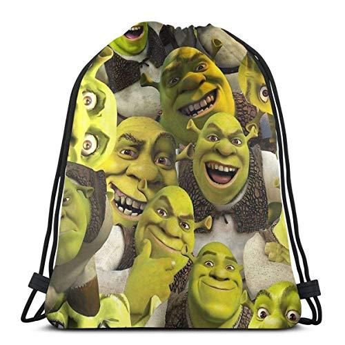 632 Drawstring Swim Bag,Shrek Collage Drawstring Storage Bag,Premium Folding Cinch Bags For Adults Boys Girls,36x43cm