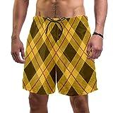 LORVIES Tartan Plaid Coffee Yellow Cross Pattern - Bañador de secado rápido para hombre, talla L multicolor XL