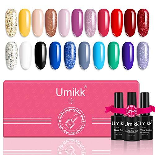 Umikk 24 piezas de esmalte de uñas en gel 21 colores 5 ml con base y capa superior y gel superior mate 10 ml dorado plateado brillante negro blanco rojo azul gris rosa verde