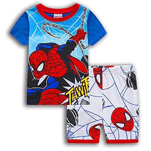 スパイダーマン Tシャツ パジャマ キッズ 子供服 ジュニア 上下セット 半袖 短パン ブルー 90-130cm 春夏 薄手綿100% プレゼント ギフト (130)