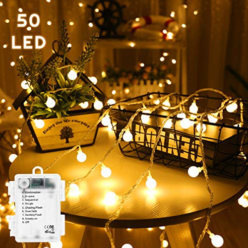 Lamantt LED String Lights, 10M 100 LED Globe Lights 8 Modes Waterproof Battery Operated Warm White Fairy Light for Party, Gazebo, Holiday Wedding Bedroom Indoor & Outdoor 3 x AA Battery Powered