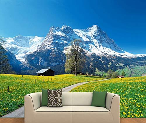 Cczxfcc De natuur, verwarmende achtergrond in landhuisstijl, gele bloemen, sneeuw, bergen, landschap, 3D-wanddecoratie, woonkamer, restaurant fris en gezellig 200 x 140 cm.
