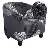 Dihope - Funda para sillón Chesterfield, funda estampada para sillón Club de cóctel, elástico, lavable, antideslizante, 1 pieza, extraíble, diseño moderno (A- Pluma)