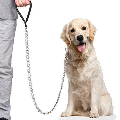 CtopoGo Hundeleine für große Hunde, über 30 kg Gewicht normal, mit weich gepolsterter Ledergriff, 120cm, Premium Chain Heavy Duty Hundeleine, für große und kräftige Hunde. (5.0mm x 1.2cm)