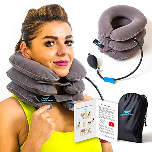 SRL Cervical Device and Collar Brace Inflatable & Adjustable, Stretcher Support Pillow Provide Traction and Neck Pain Relief, Posture Corrector Therapy