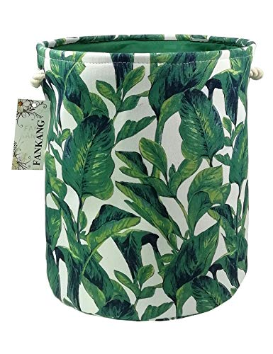 FANKANG Storage Baskets,Collapsible Convenient Nursery Hamper/Laundry Bin/Toy Collection Organizer for Kid's Room(Green leaves)