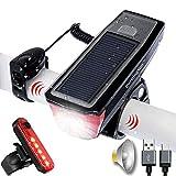 BURNINGSUN Juego de luces para bicicleta y bocina con luz solar recargable por USB, 4 modos, luces traseras delanteras y traseras para ciclismo, equitación, luz trasera
