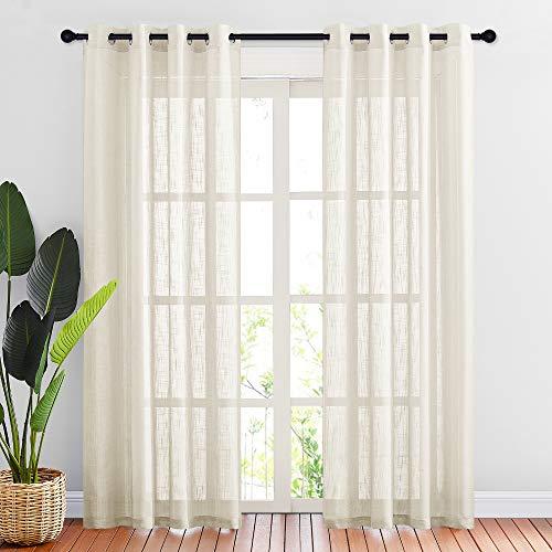 "NICETOWN Linen Textured Sheer for Living Room - Grommet Top Design Semi-Translucent Voile Drapes 84"" Long for Guest Room/Patio/Sliding Door (Beige, 2 Panels =104"" W, 2 Panels per Package)"