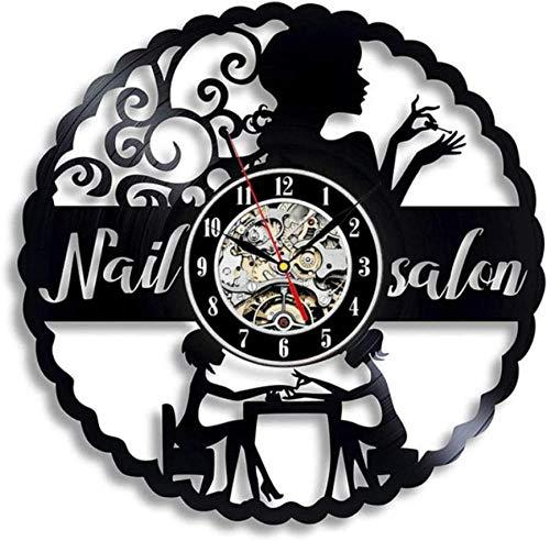 Reloj de Pared con Disco de Vinilo, Regalo Creativo para niños y niñas, Adolescentes, Amigos, diseño artístico único, Reloj de Pared de Vinilo de 12 Pulgadas (uñas de Belleza)