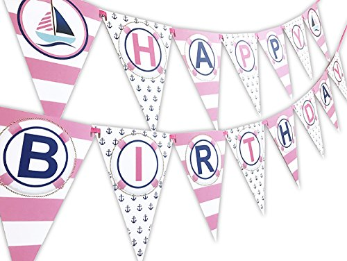 POP parties Nautical Pink Happy Birthday Banner Pennant - Sailboat Party Banner - Made in The USA