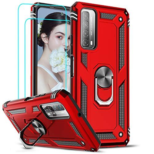 LeYi Funda Huawei P Smart 2021 con [2-Unidades] Cristal Vidrio Templado,Armor Carcasa con 360 Grados Anillo iman Soporte Hard PC y Silicona TPU Bumper Antigolpes Case para Movil P Smart 2021,Rojo