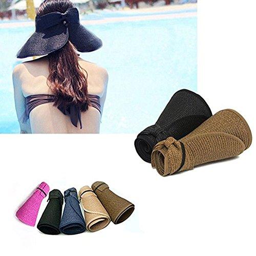Afco Women's Sun Hat,Girl Summer Wide Brim Roll up Foldable Sun Beach Straw Braid Visor (Dark Purple)