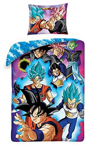 Juego de cama Dragonball Super ProTAGONISTI Goku Vegeta Funda nórdica con funda azul reversible...