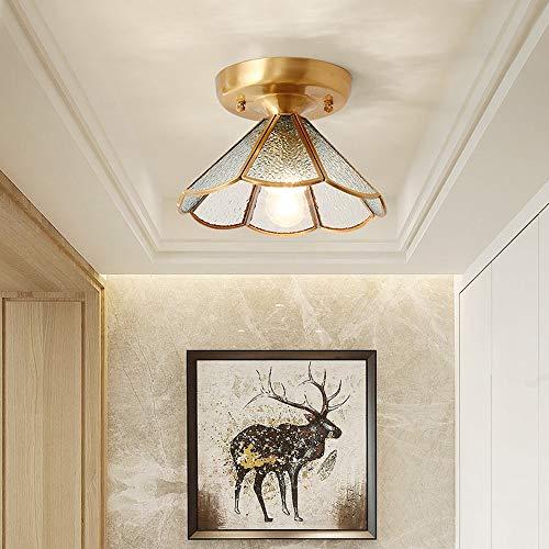 Luce Plafoniera Lámpara de techo totalmente de cobre Ambiente simple Porche Pasillo Luz Pasillo creativo for el hogar Balcón Iluminación del hogar Imitación Agua Cristal E27 (Color : A)