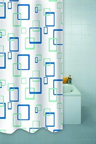 VAELSON Duschvorhang 180x200 cm Quadro Azure Vorhang incl. Ringe Anti-Bakteriell Anti-Schimmel