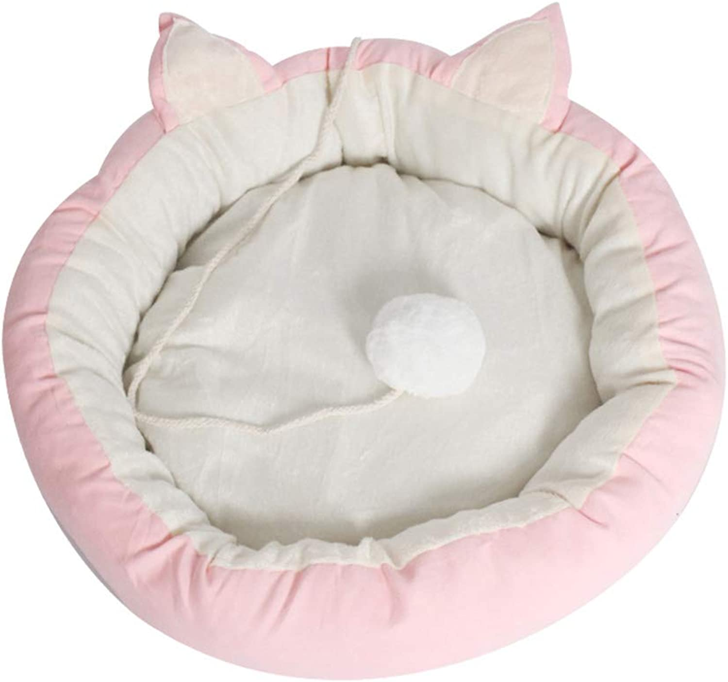 Cat Litter Kennel Small Dog Four Seasons Universal Removable Washable cat Bed cat mat cat Supplies,pinkwhite,Large