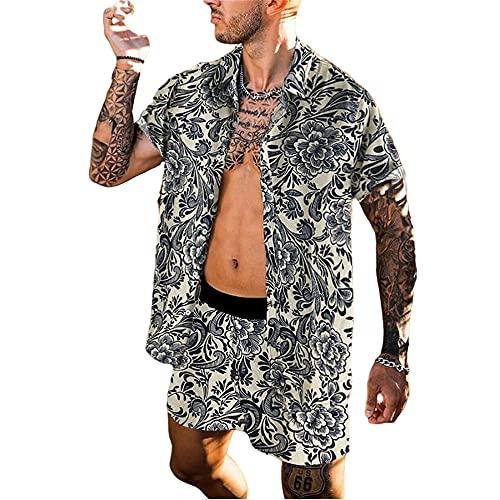 Conjunto Manga Corta Hombre Vintage Personalidad Estampado Camisa/Pantalones Cortos Hombre Vacaciones Hawaii Playa Estilo Conjunto Hombre Ajuste Regular Verano Conjunto Hombre