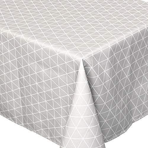 Nappe carrée 170x170 cm imprimée 100% polyester PACO géométrique gris Argent