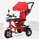 MAMINGBO Triciclo, con la sombrilla de titanio Aire rueda de absorción de choque del pedal Trike, durante 2 3 4 5 años de edad Niños Niñas interior y exterior (Color : Rojo)