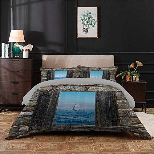 Juego de colcha con imagen de un barco de vela desde una ventana de piedra estrecha perspectiva idílica impresión mediterránea juego de ropa de cama transpirable y cómodo, gris azul, tamaño completo