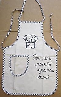 Trama Toscana Delantal para niño Cocinero de algodón 100% con Frase Bordada per Un Pequeño Grande Cocino 45 x 60 cm