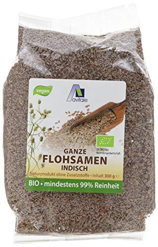 Avitale Ganze Flohsamen aus Indien, 99{0919a301ec9f39b9d8792ad2160d72755c99f75ff5977478936861fbc6652c6b} Reinheit, reich an Ballaststoffen, Bio-Ware - Geprüfte Qualität aus Indien - Verpackt in Deutschland, 1er Pack (1 x 300 g)