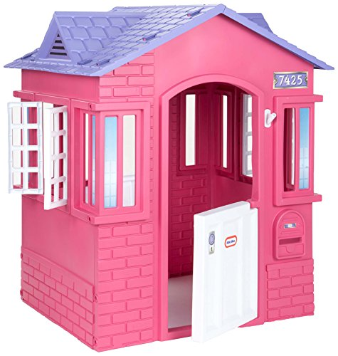 Little Tikes Cape Cottage House, Pink with Working Doors, Working Window Shutters, Flag Holder, Easy Installation Process, For Kids 2-8 Years Old