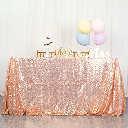Mantel de Lentejuelas Mantel Rectangular Cubierta de Mesa Decoraciones para Fiestas Ropa de Mesa de Boda (60x102 Pulgadas, Rosegold)