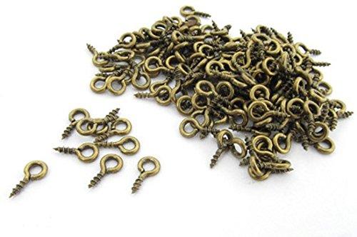 100x Schraubösen Schrauben Lochschrauben Augenschrauben Ösen 7mm Mini Bronze