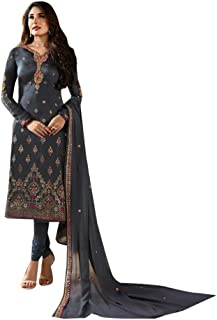Grey Muslim Ethnic Meenakari jacquard work Salwar Kameez Suit Georgette Dupatta Indian Women Semi-stitched dress 7812