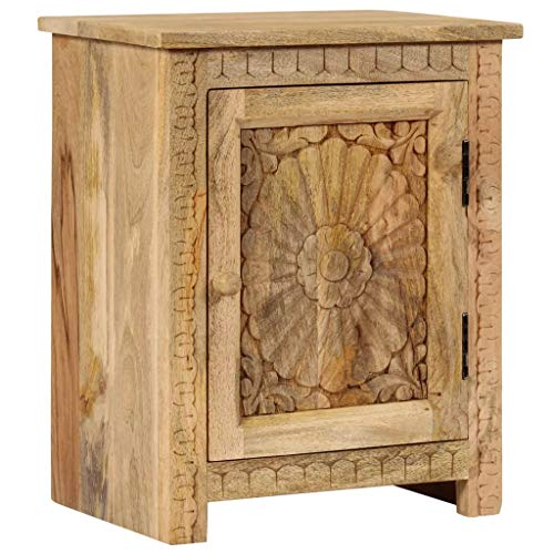 Festnight Nachttisch | Holz Nachtschrank | Elegant Nachtkommode | Schlafzimmer Beistelltisch | Mit 1 Schrank | Massives Mangoholz 40 x 30 x 50 cm