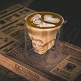 Taza de café con forma de calavera, vaso de café con cabeza de calavera transparente de doble capa, taza de cristal creativa para whisky, vino, vodka, café, bebida, vaso de cerveza, 1 pieza (Small)
