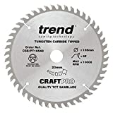 Trend CSB/PT16548 CraftPro <span class='highlight'>TCT</span> <span class='highlight'>Saw</span> <span class='highlight'>Blade</span> <span class='highlight'>165mm</span> x 48 Teeth x <span class='highlight'>20mm</span> (2.0mm Kerf), Silver