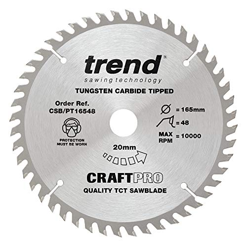 Trend CSB/PT16548 CraftPro TCT Saw Blade 165mm x 48 Teeth x 20mm (2.0mm...