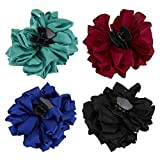 4 Pack Blue Black Burgundy Red Green Butterfly Octopus Korean Ribbon Silk Chiffon Large Rose Flower Bows Plastic Hair Claw Clips Jaw Barrettes Grips Clamps Decorative Bun Chignon Accessories for Women