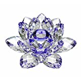 Amlong Crystal Hue Reflection Crystal Lotus Flower with Gift Box, Blue 3 Inch