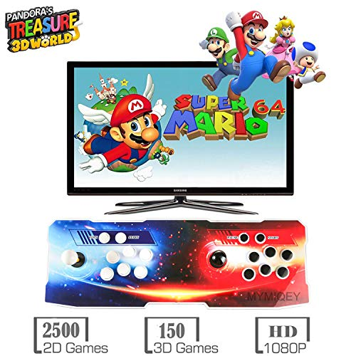 Pandora Treasure II Arcade Game Console, 2650 Retro HD Games, Support 3D Games, Search/Save/Hide/Delete Games, Add More Games, 1920x1080 Full HD, Support 4 Players Online, 2 Player Game Controls