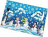 Tcerlcir Manteles Individuales, fácil de Limpiar, Resistente al Calor, Resistente a Las Manchas de Materiales manteles Individuales Conjunto de 6-muñeco de Nieve, 12X18in-35