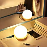 Bonita luz de noche, USB 3D en forma de bola LED de madera natural, fácil de alimentar, en cualquier lugar mesa de escritorio sala de estar adultos niños casa WATOPI