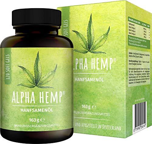 Alpha Hemp Hanföl Kapseln, Premium Hanföl, hochdosiert & optimiert kaltgepresst, Cannabis Sativa, 1000mg je Kapsel, Laborgeprüft, pflanzliches Omega 3 + 6 + 9 - Hanfsamenöl,120 Kapseln